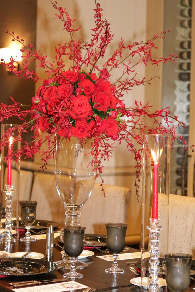 All Red Rose and Orchid Centerpiece and Table Setting