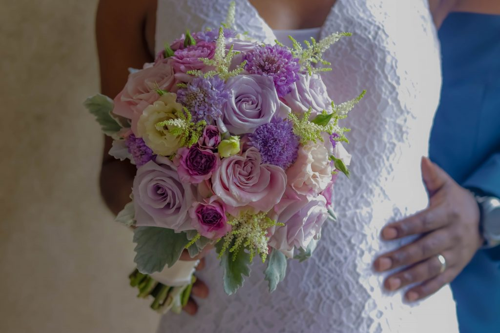 White and Orchid Bridal Bouquet