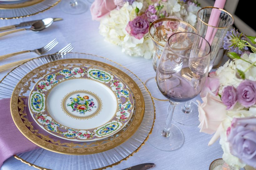 White and Orchid Classic Table Setting