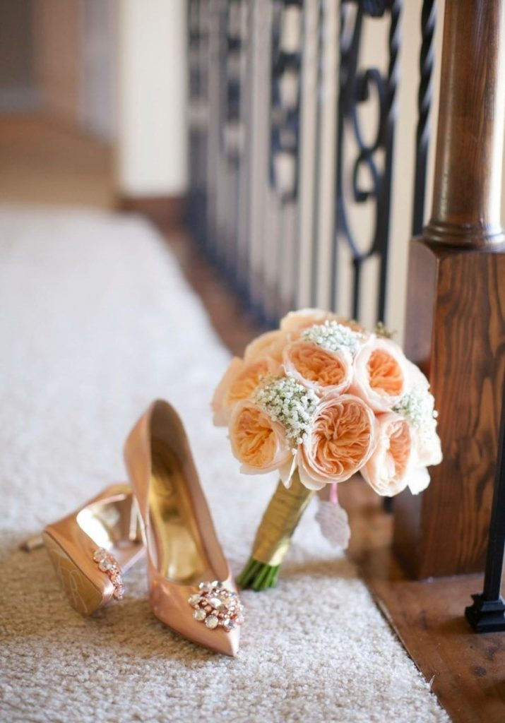 Peach Garden Rose Bridal Bouquet and Boutonniere
